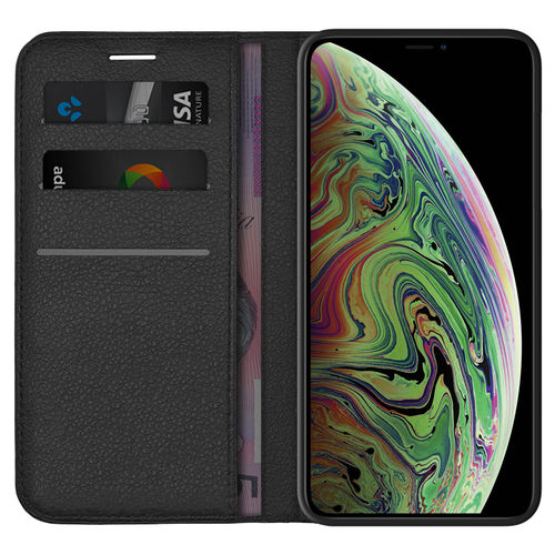 Leather Wallet Case & Card Holder Pouch - Apple iPhone Xs Max - Black